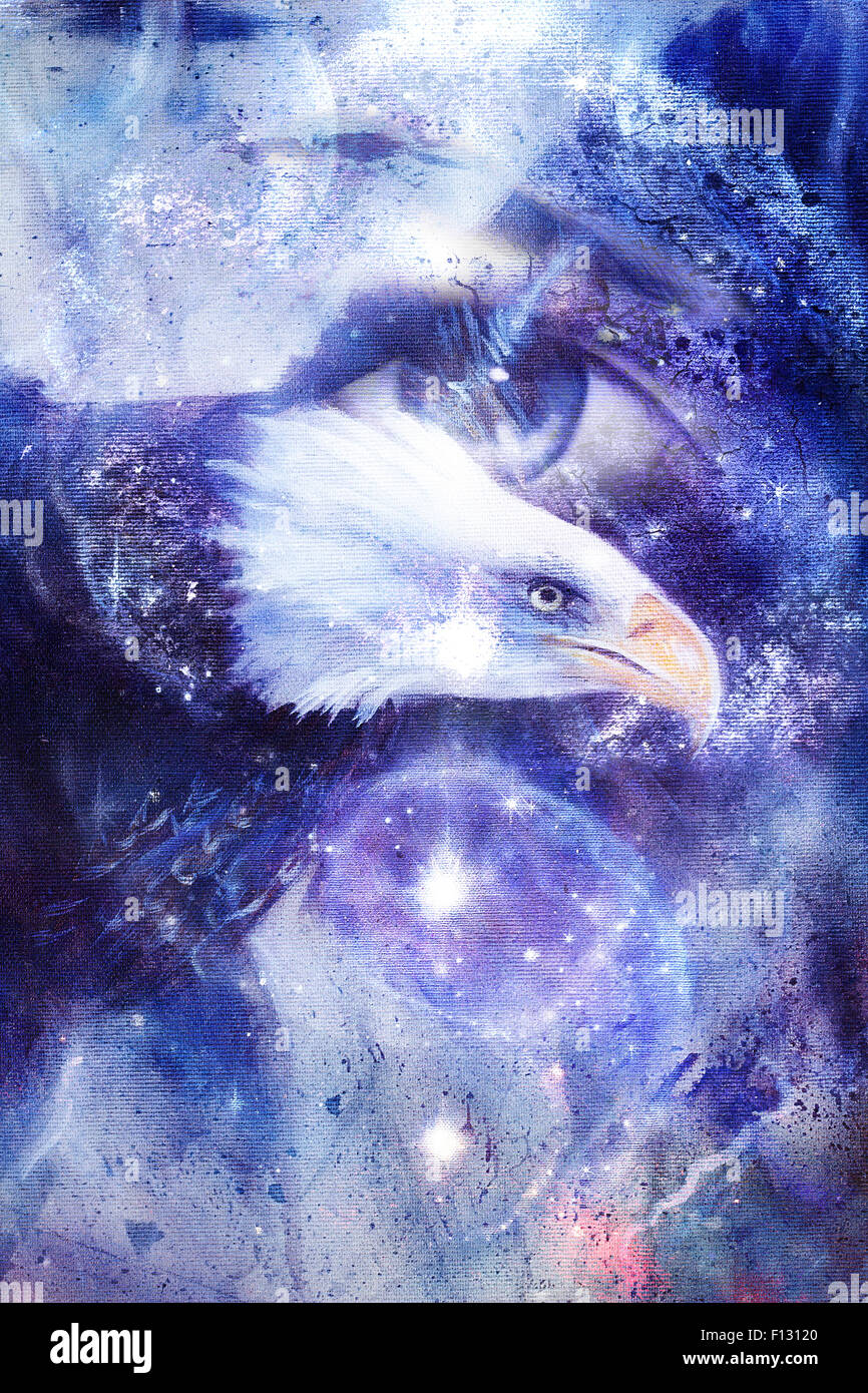 painting eagle with woman eye on abstract background and Yin Yang Symbol in space with stars. Wings to fly, USA Stock Photo