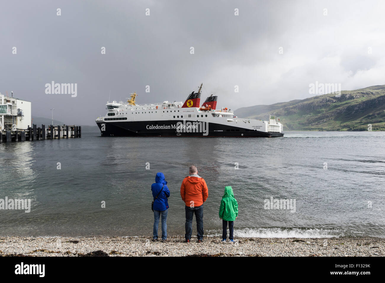 Caledonian Macbrayne ( Calmac) ferry from Stornaway on Isle of Lewis in Outer Hebrides approaching Ullapool ferry - Stock Image