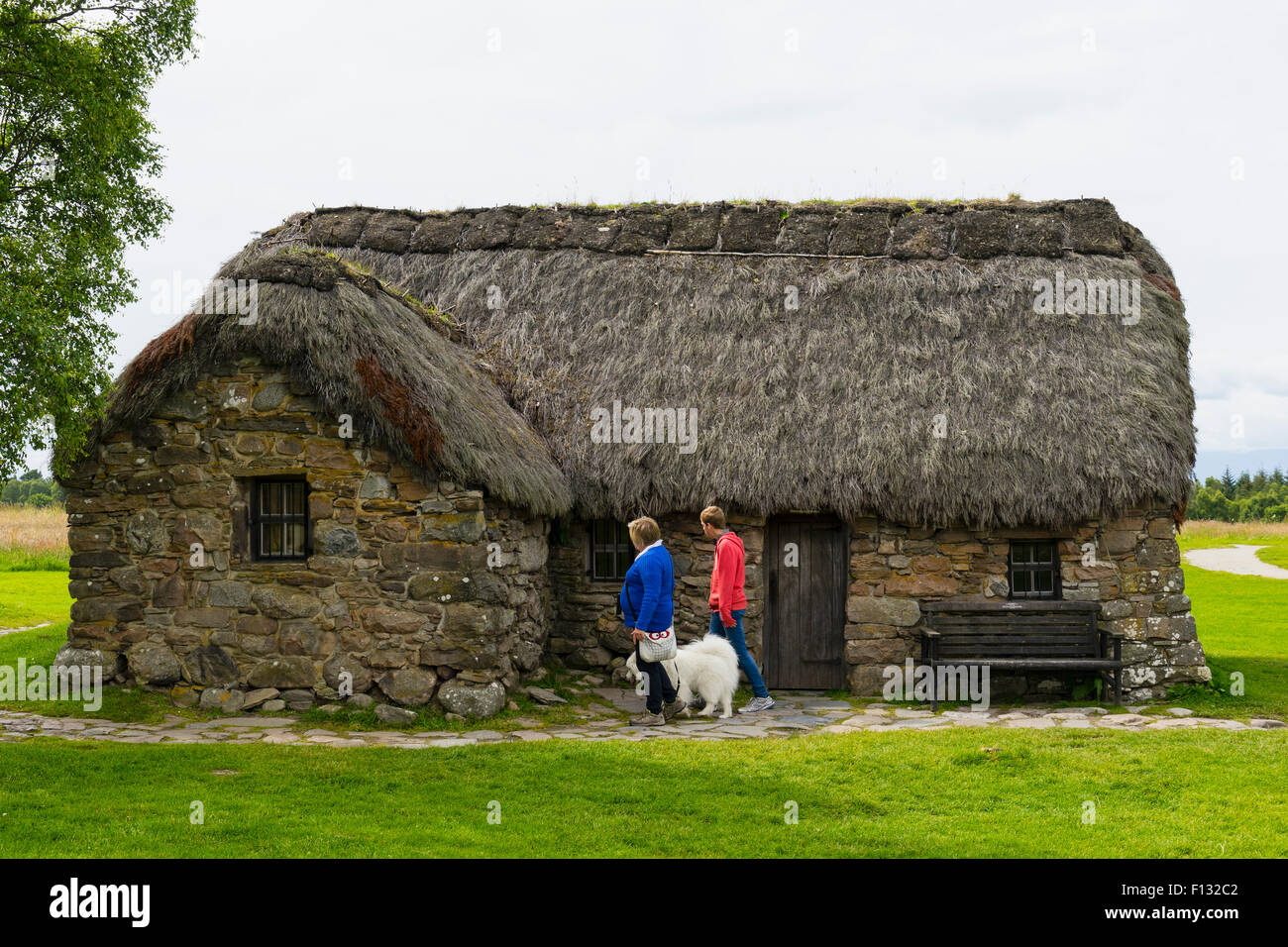 Old Leanach Cottage at National Trust for Scotland  Culloden Moor battlefield in Highland, Scotland. - Stock Image