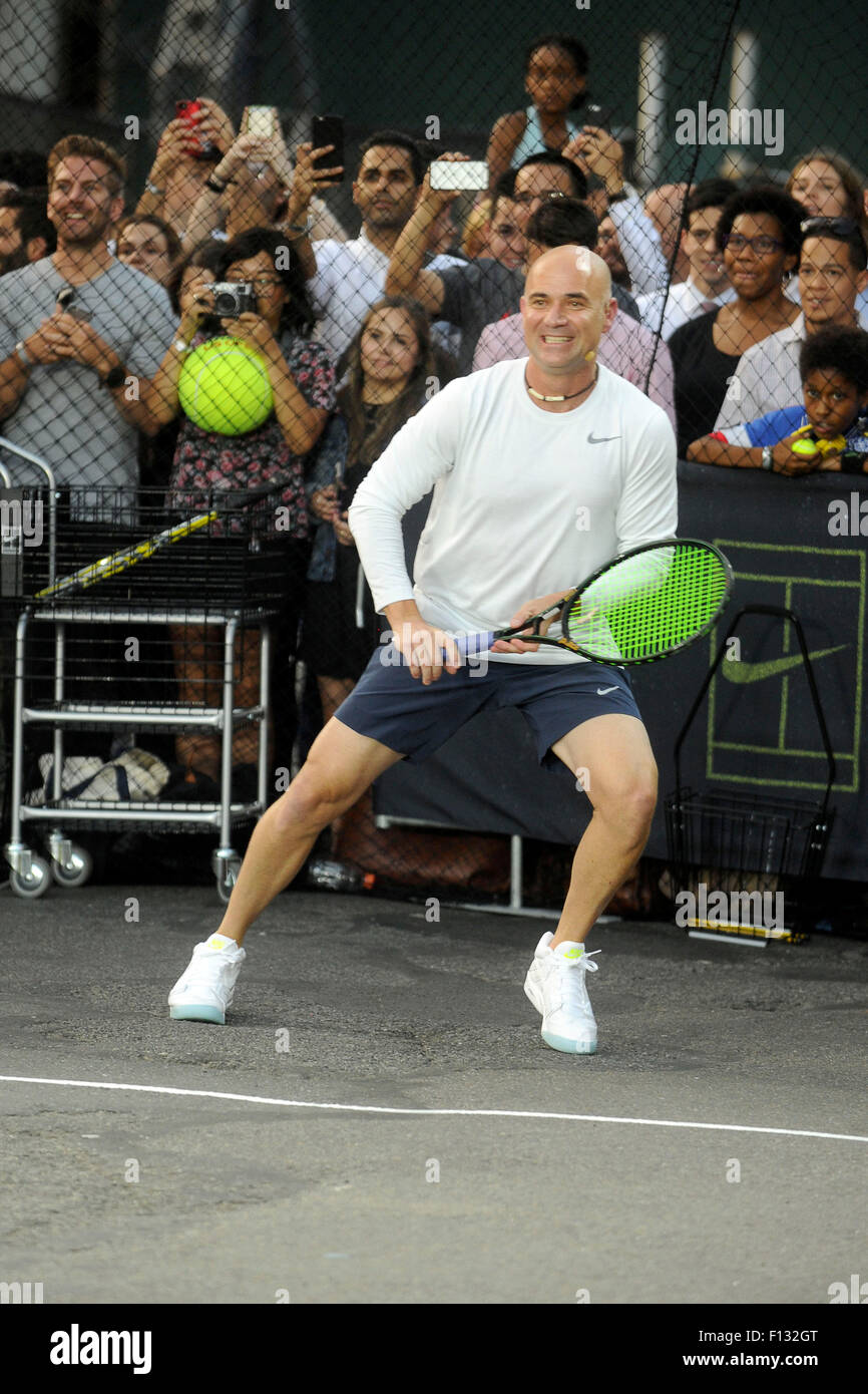 premium selection 577c7 2611e Andre Agassi attending Nikes NYC Street Tennis event on August 24, 2015  in