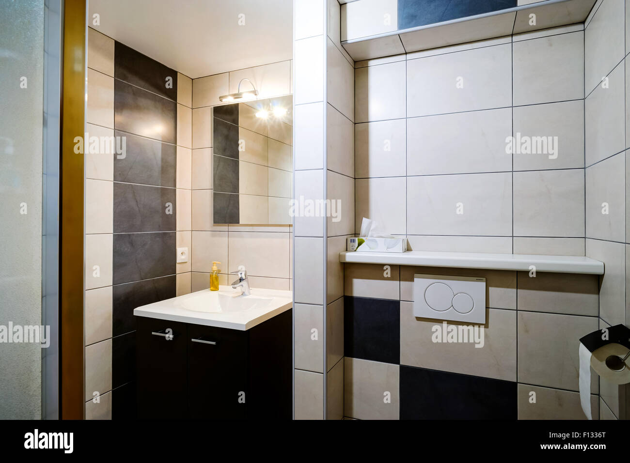 New modern wc with douche in apartment bathroom stock photo
