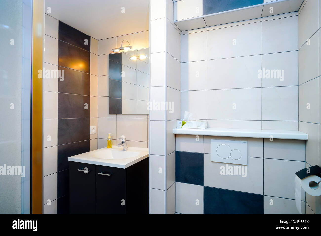 New modern wc with douche in apartment, bathroom Stock Photo ...
