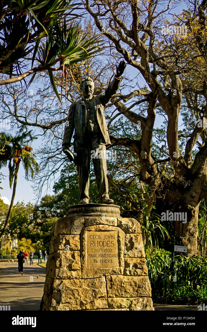 A statue of Cecil John Rhodes at Companys Gardens in Cape Town, South Africa Stock Photo