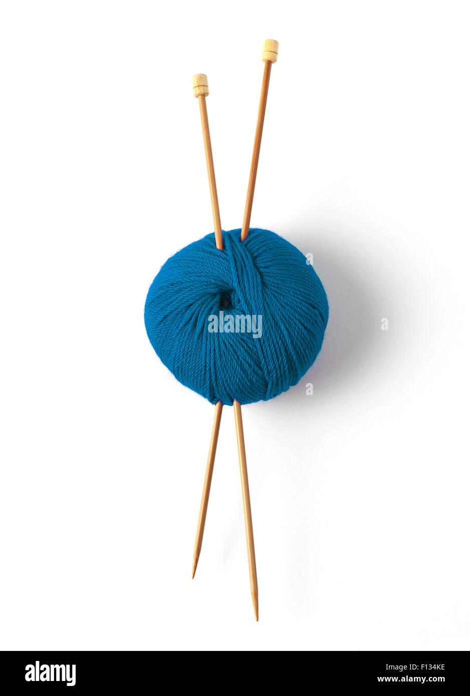 Knitting wool and needle - Stock Image