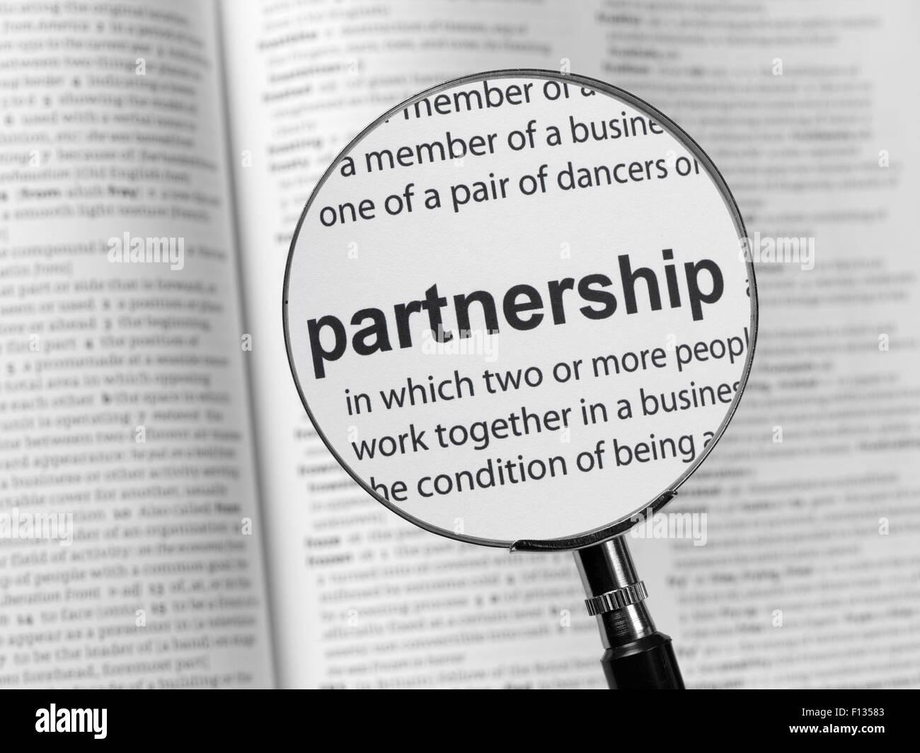 Dictionary highlighting Partnership - Stock Image