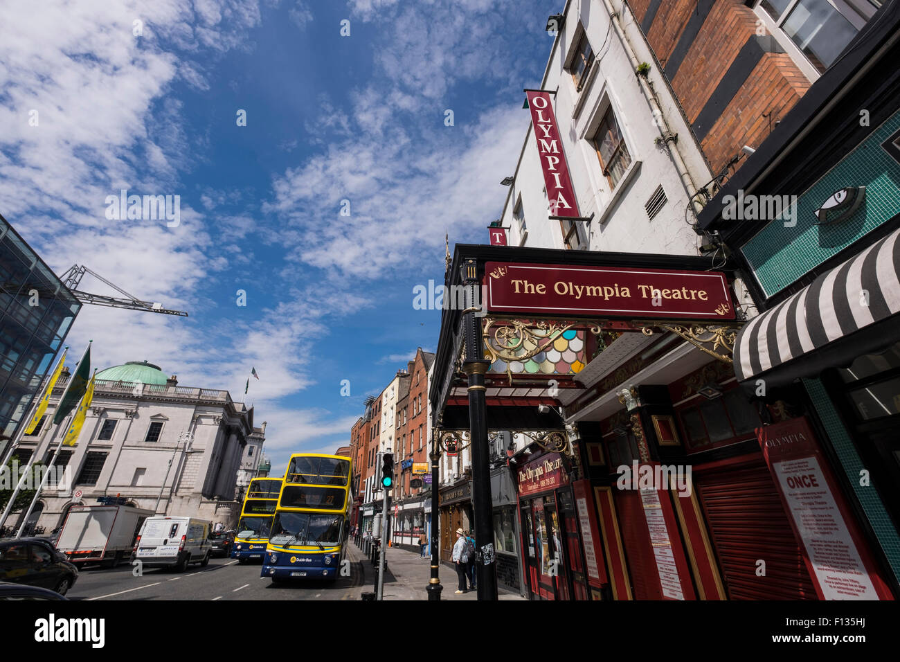 The cast iron and stained glass canopy at the entrance to the Olympia Theatre on dame Street in Dublin, Ireland. Stock Photo