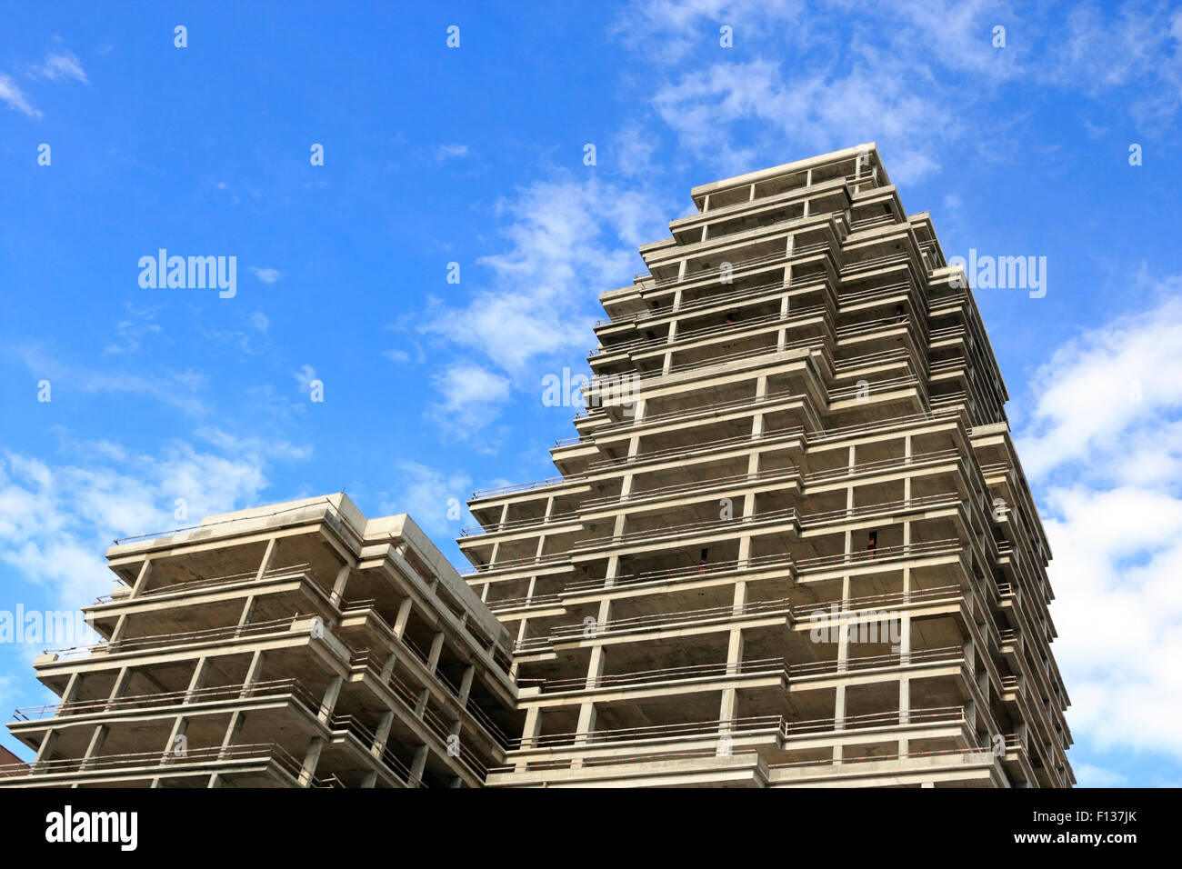 Incomplete apartment building during the financial crisis. - Stock Image