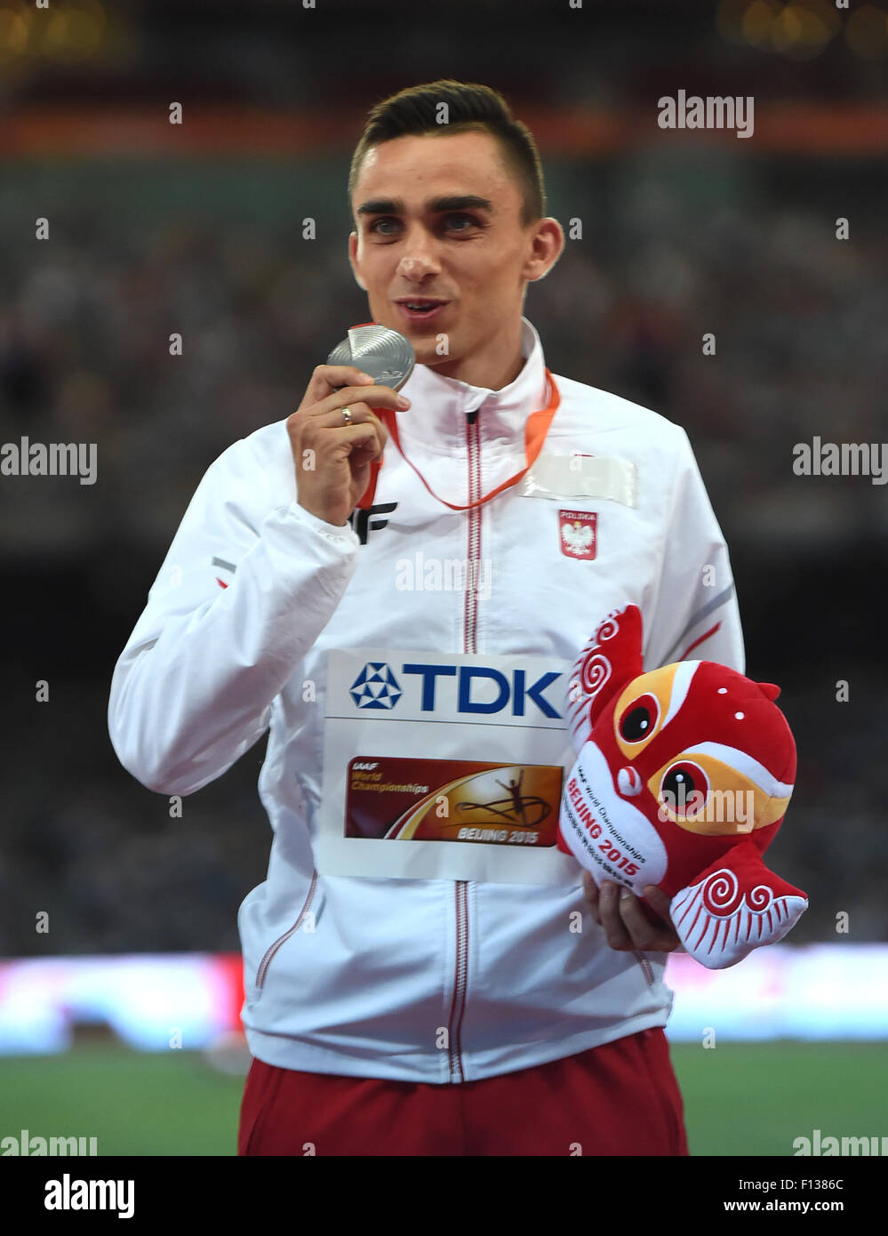 Beijing, China. 26th Aug, 2015. Silver medalist Poland's Adam Kszczot celebrates during the awarding ceremony - Stock Image