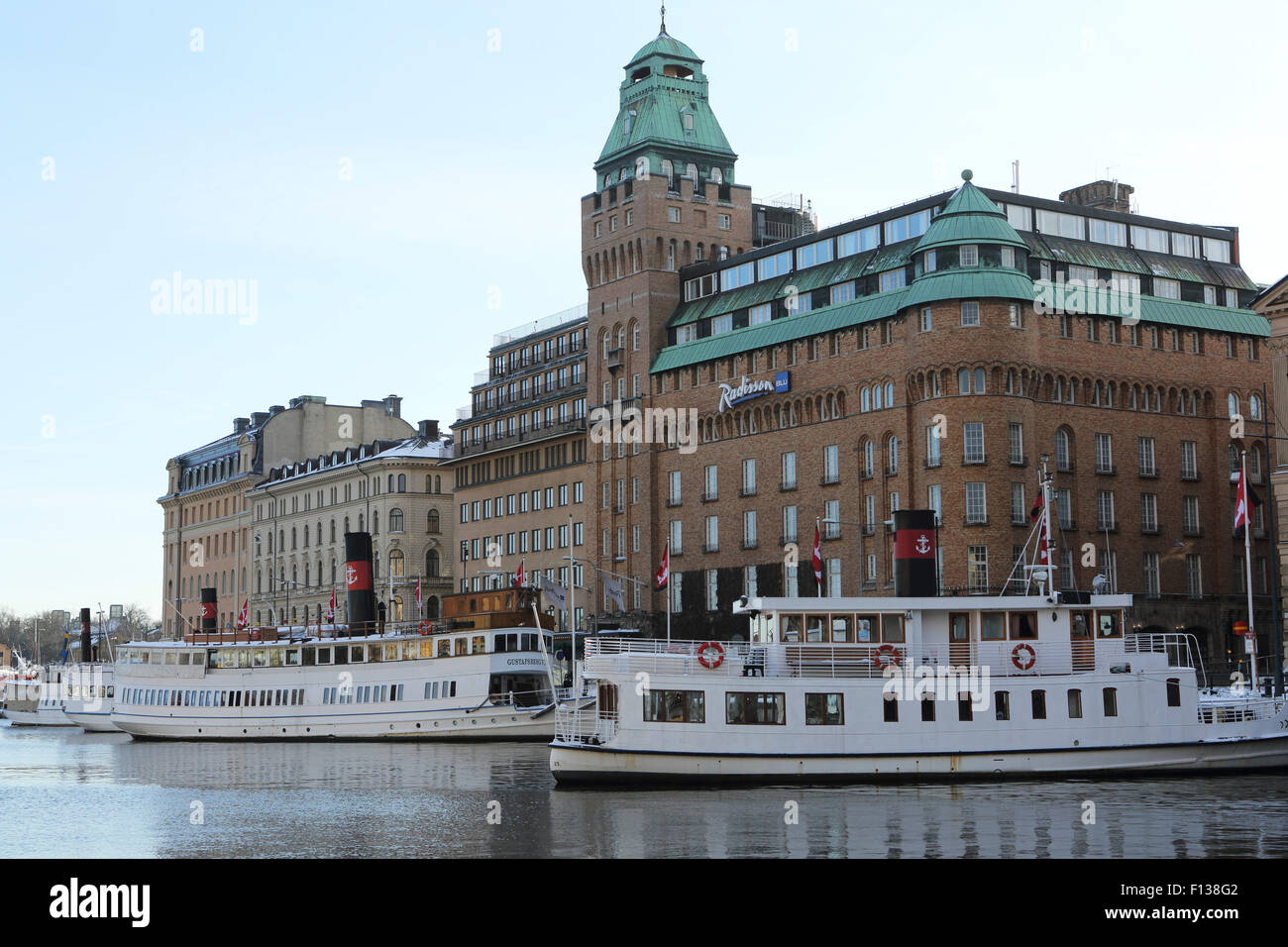 The Radisson Blu Strand Hotel in Stockholm, Sweden. The hotel overlooks the waterfront area is in the heart of the - Stock Image