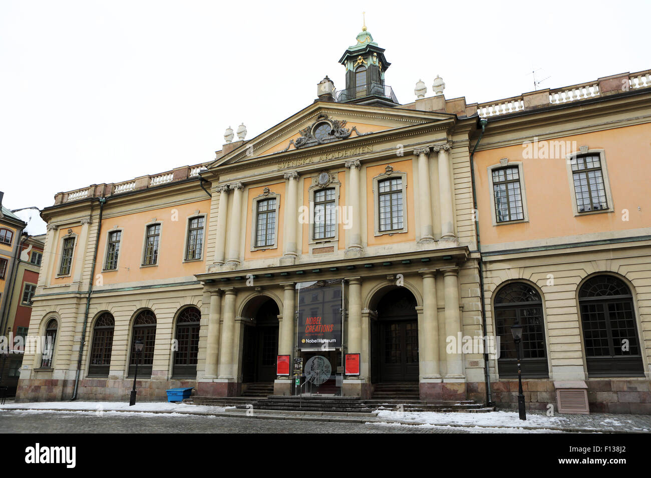 The Swedish Academy (Svenska Akademien) in Stockholm, Sweden. The Nobel Prize is awarded in the building. - Stock Image
