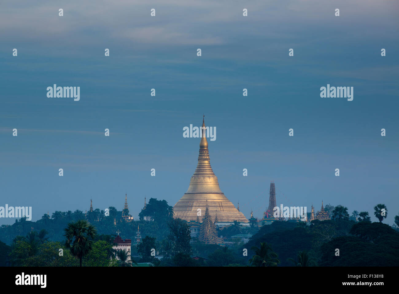 Shwedagon Pagoda in distance, Yangon, Myanmar. November 2012. - Stock Image