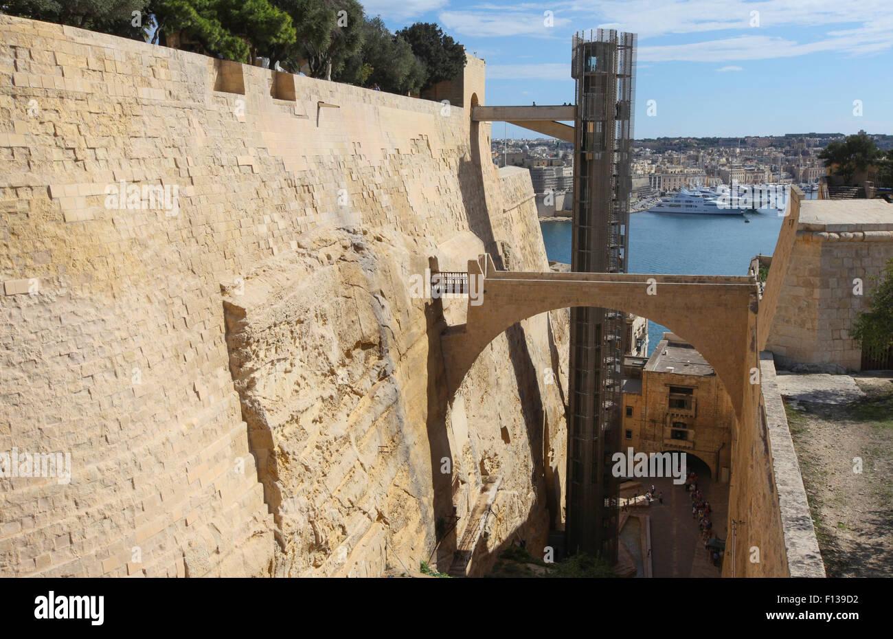 Barrakka Lift in Valletta, Malta. - Stock Image