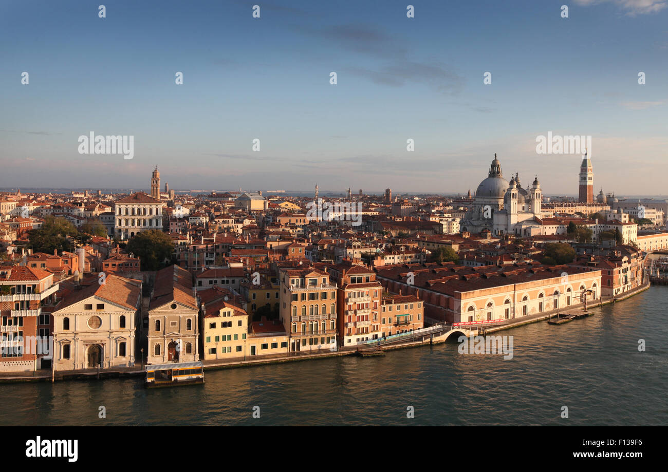 Venice Italy, View of the city skyline from Canale della Giudecca - Stock Image