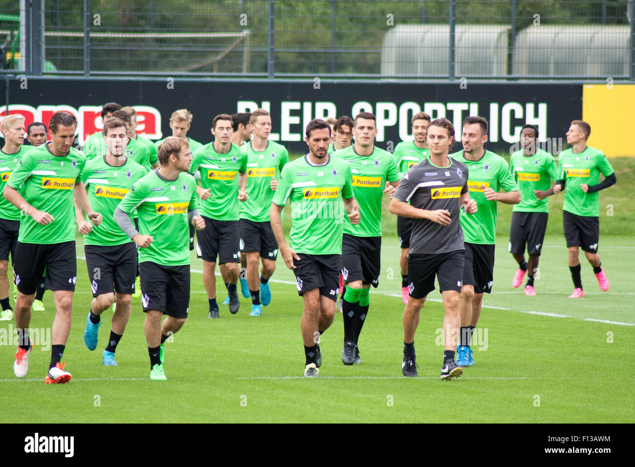 Mönchengladbach, Germany. 26th August, 2015. Professional football players during training session of german - Stock Image