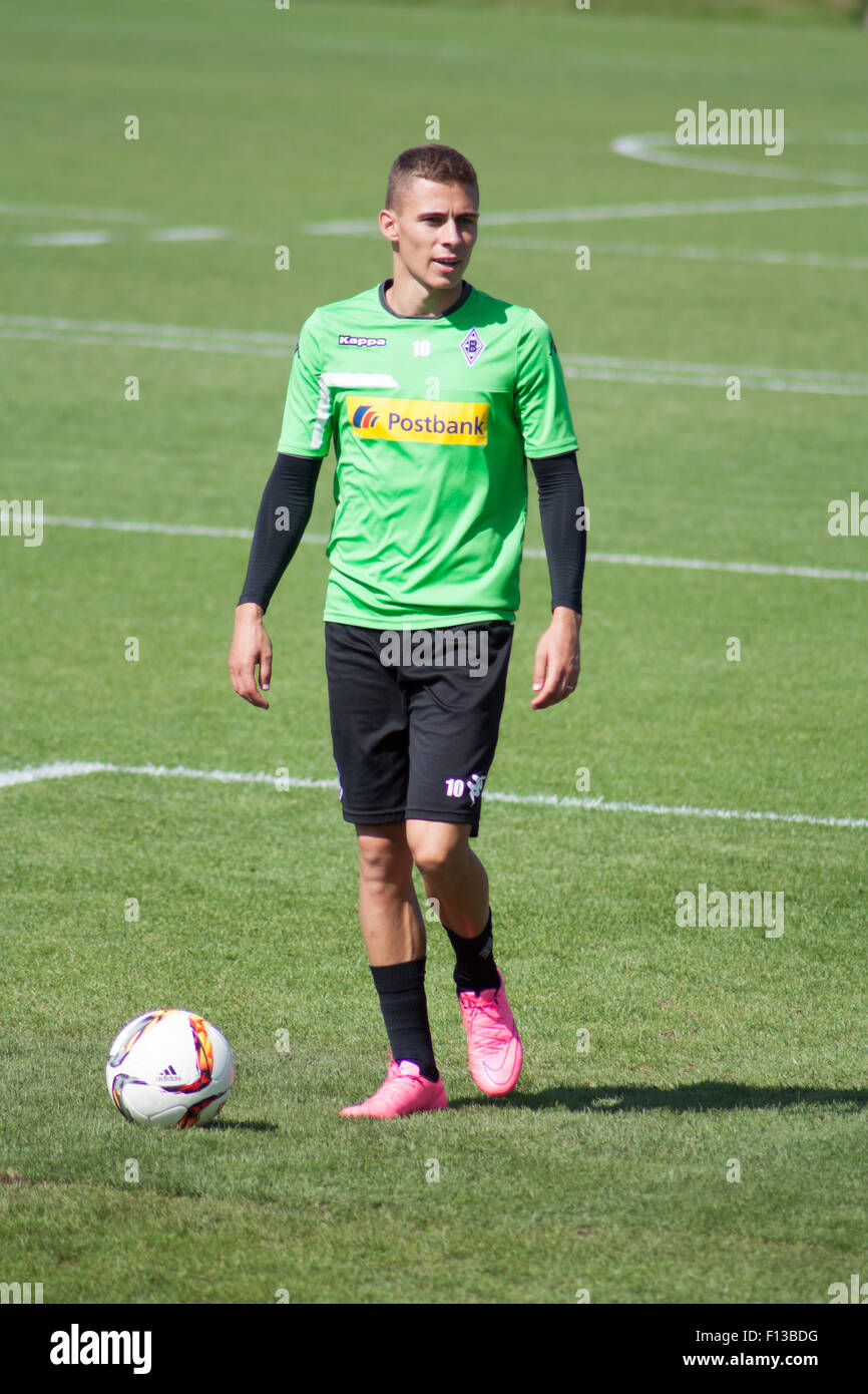 Mönchengladbach, Germany. 26th August, 2015. Professional football player Thorgan Hazard during training session - Stock Image
