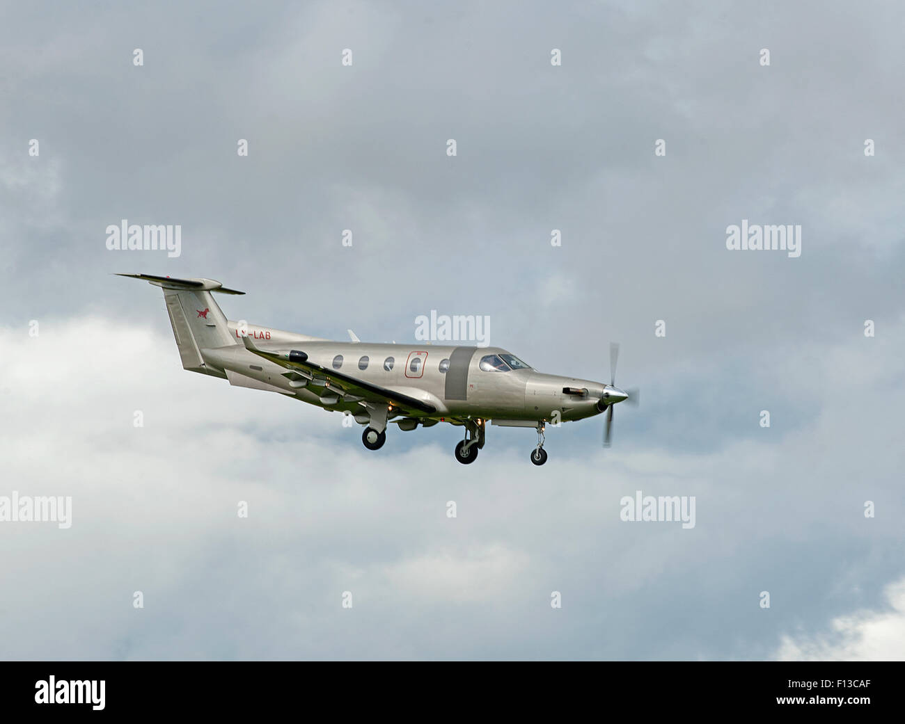 Pilatus PC-12NG (PC-12/47E) Luxembourg registered (LX-LAB) arriving at Inverness Scotland.  SCO 10,047. - Stock Image