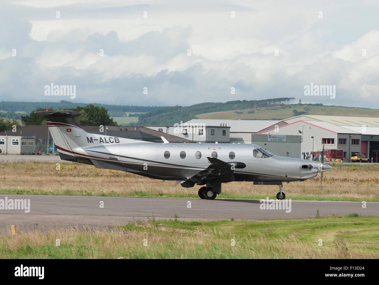 Pilatus PC-12NG (PC-12/47E) Maltese registered (M-ALCB) at Inverness, Scotland.  SCO 10,052. - Stock Image