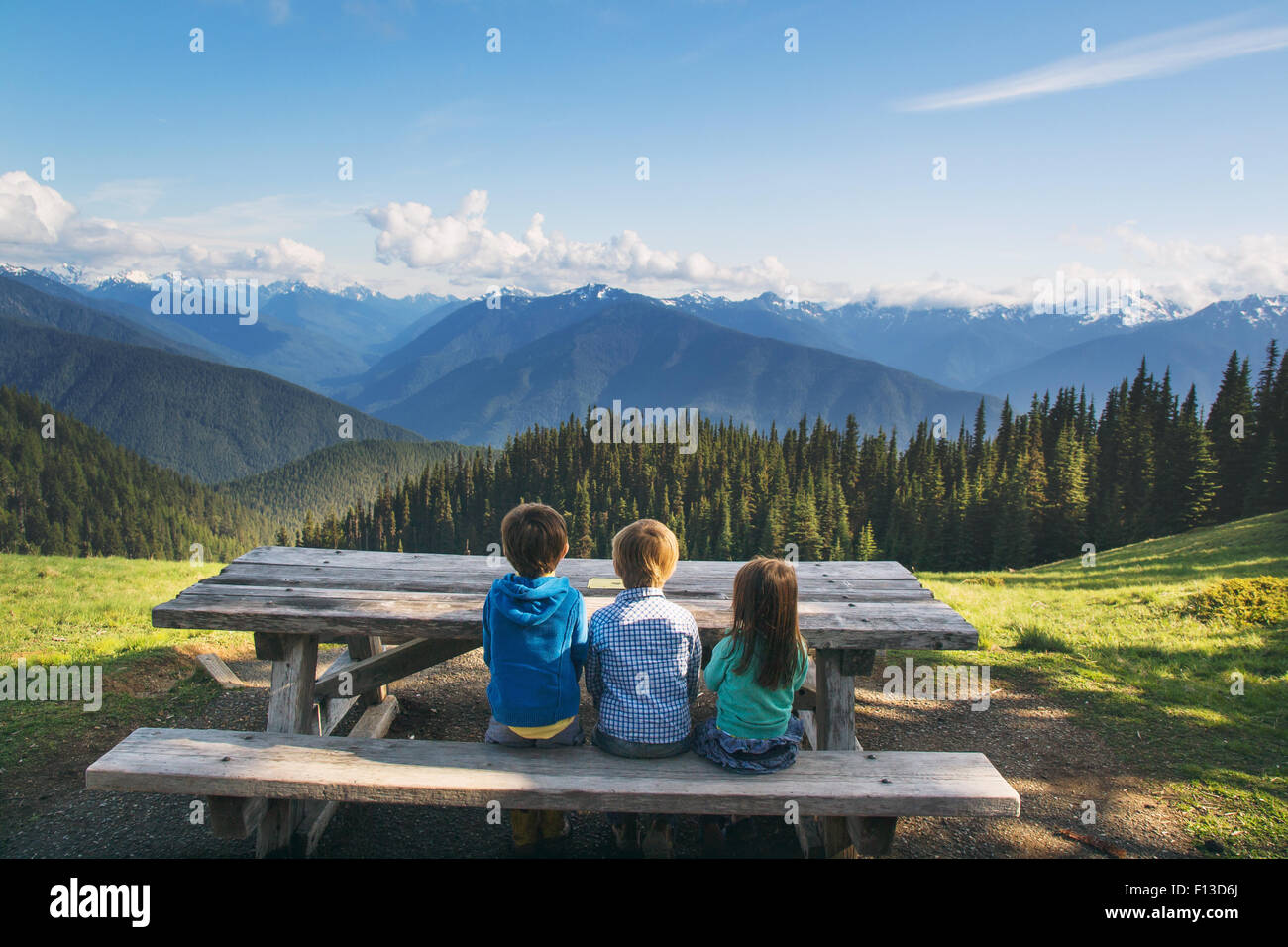 Rear view of three children sitting on a bench in countryside - Stock Image