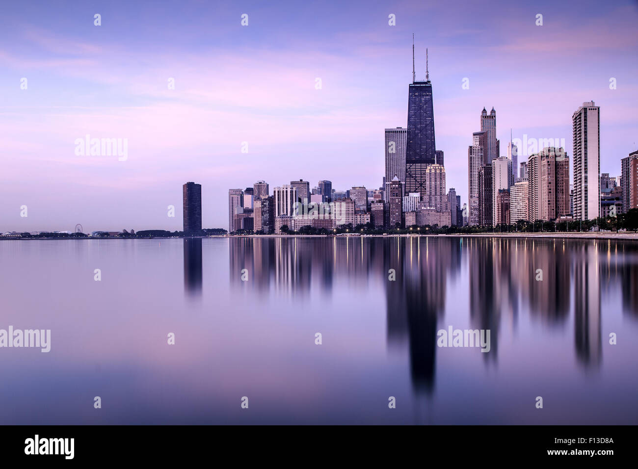Skyline seen from North Avenue Beach, Chicago, Illinois, USA - Stock Image