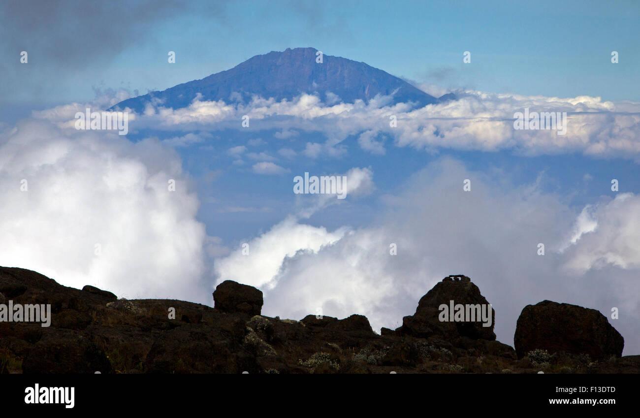 Mount Meru  seen from Mount Kilimanjaro, Tanzania - Stock Image