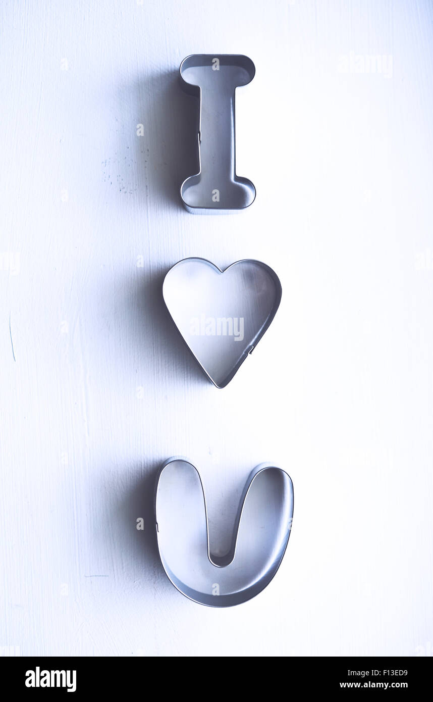 I love you message made from metal pastry cutters - Stock Image