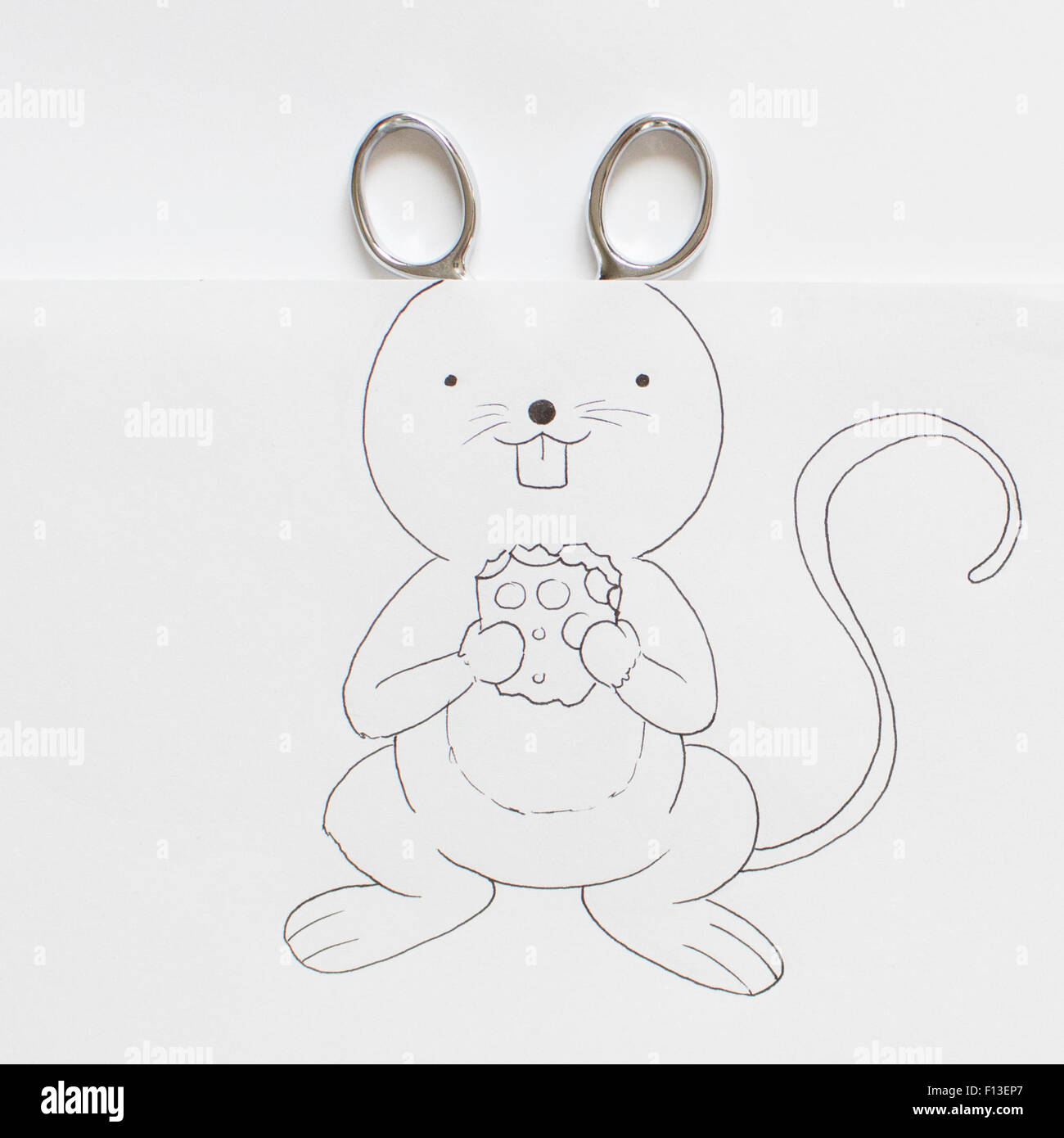 Conceptual drawing of a mouse holding cheese - Stock Image