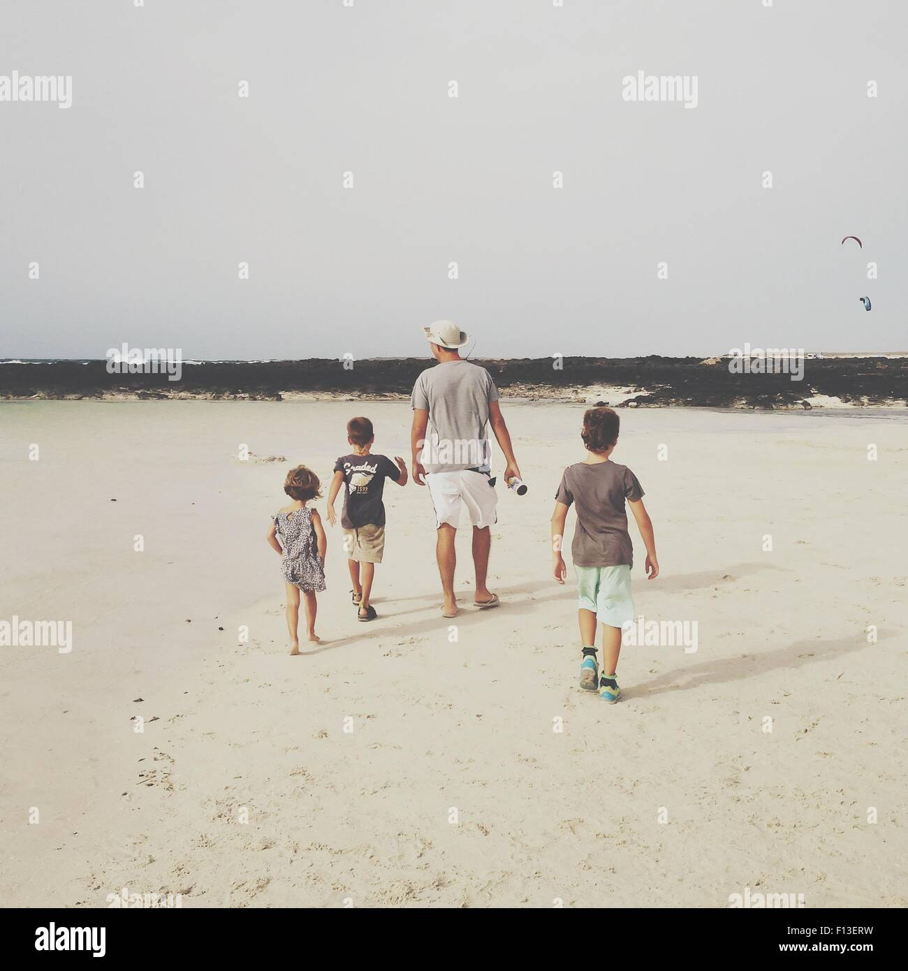 Rear view of a man with three children walking on the beach - Stock Image