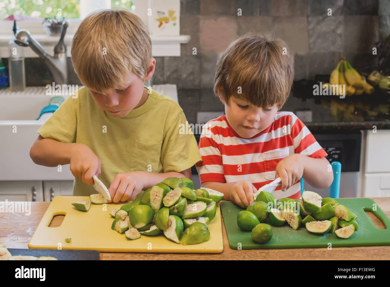 Two boys chopping figs in the kitchen - Stock Image