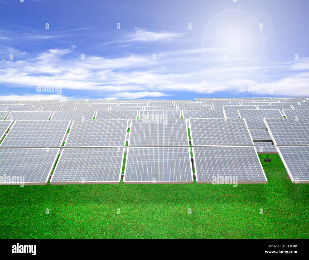 Solar Cells for electricity production Natural energy - Stock Image