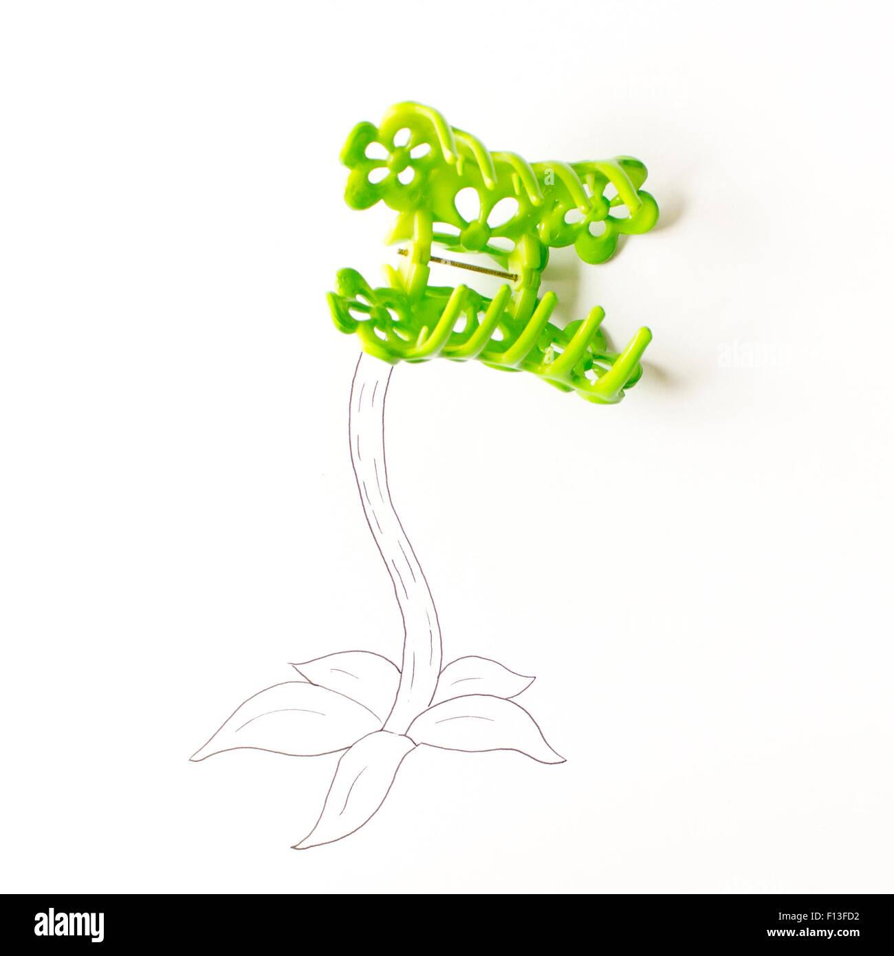 Conceptual drawing of a venus flytrap - Stock Image