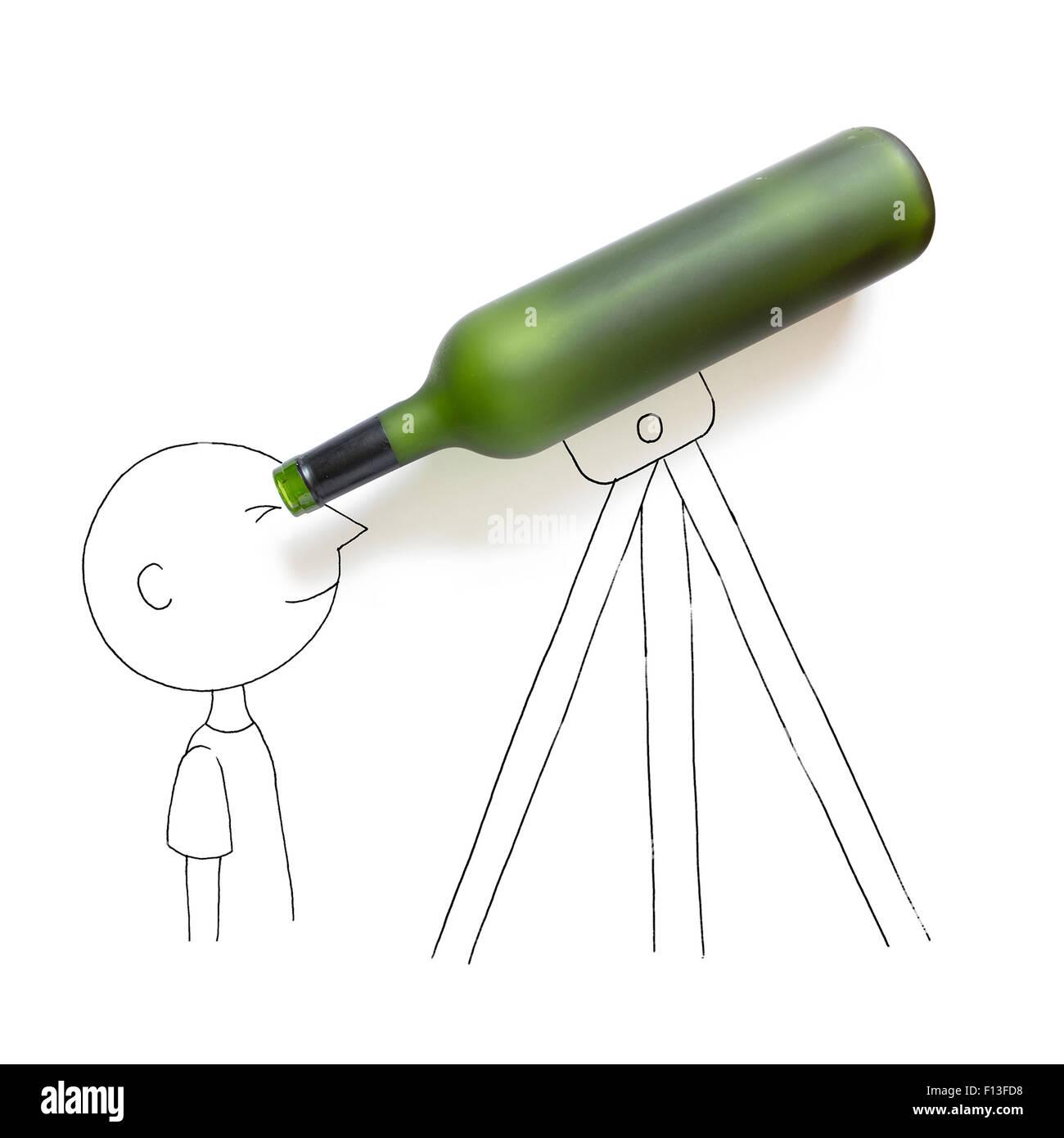 Conceptual boy looking through a telescope - Stock Image