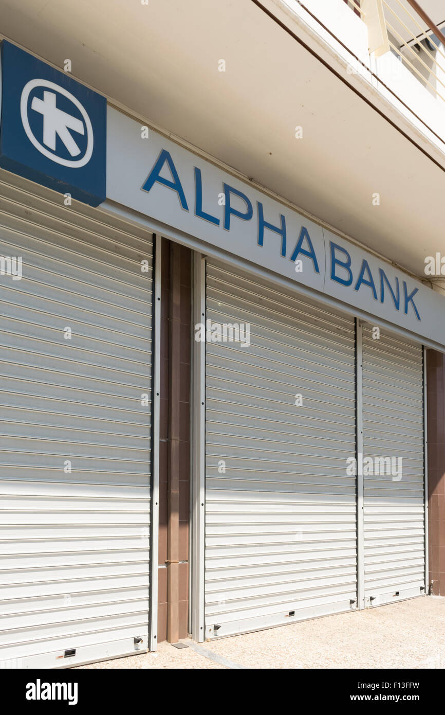 Athens, Greece, 13 July 2015. Banks are closed because of the economical crisis in Greece. - Stock Image