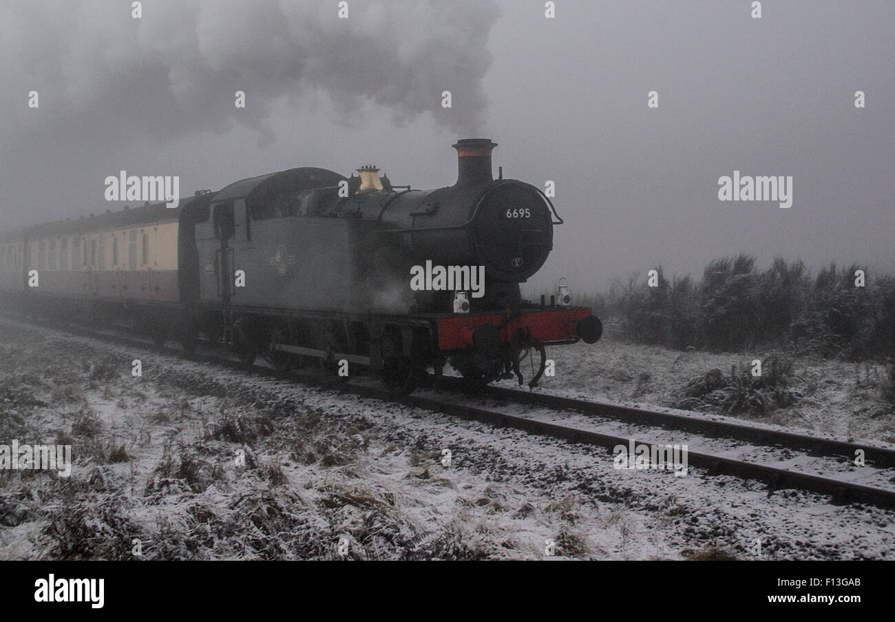 GWR 0-6-2T on SVR on a cold, misty winter's day approaching Foley Park tunnel southbound to Kidderminster - Stock Image