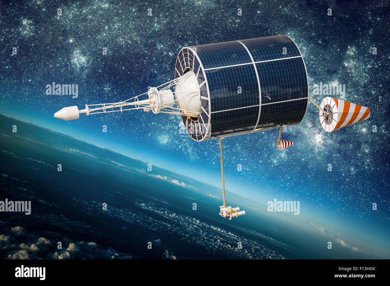 Space satellite orbiting the earth. Elements of this image furnished by NASA. - Stock Image
