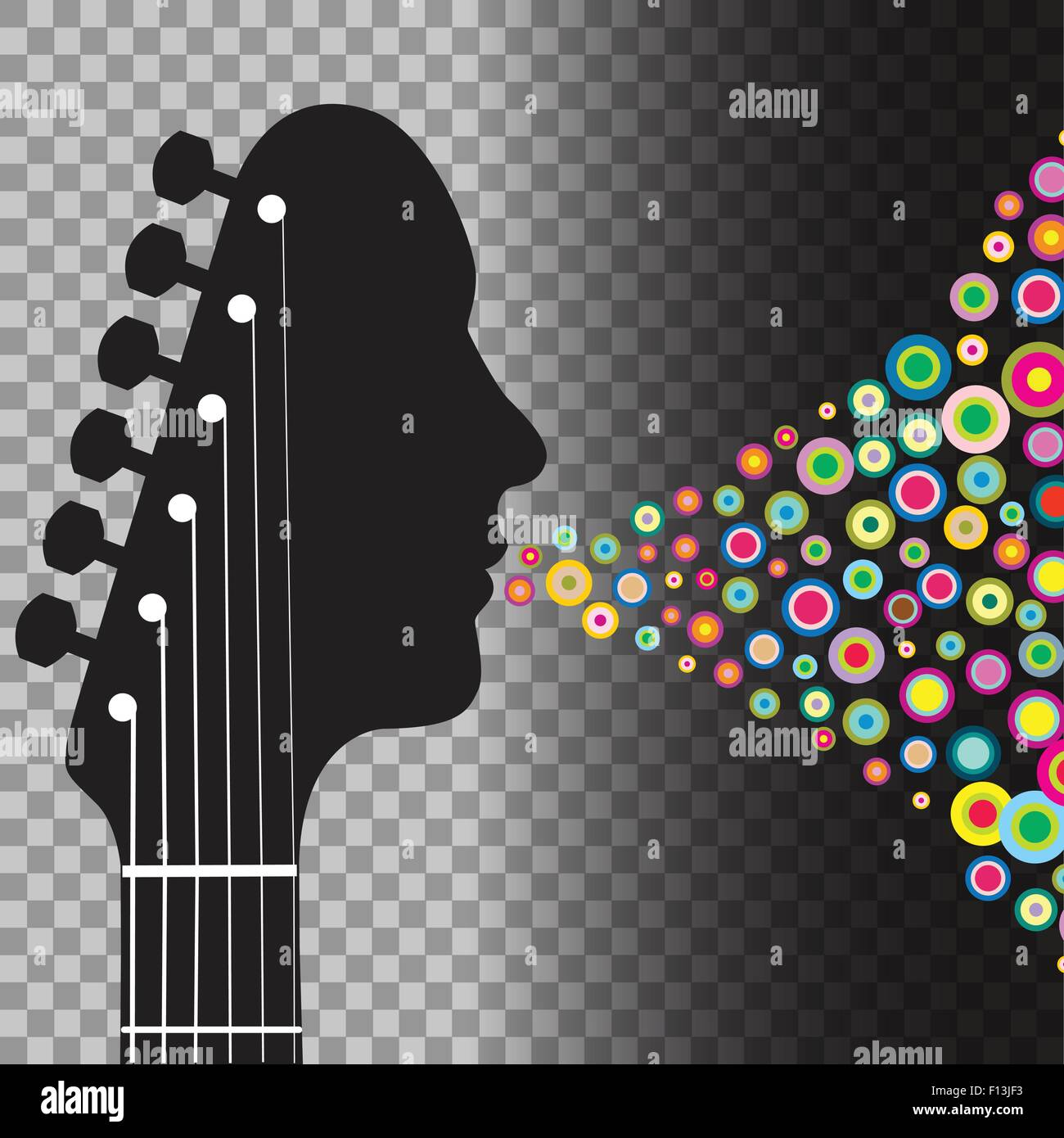 Guitar Headstock Man With Circles On A Transparent Background Stock Vector Image Art Alamy
