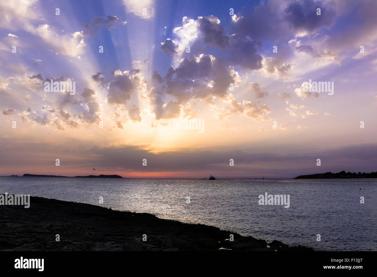 Rocky Beach at Sunset - Stock Image