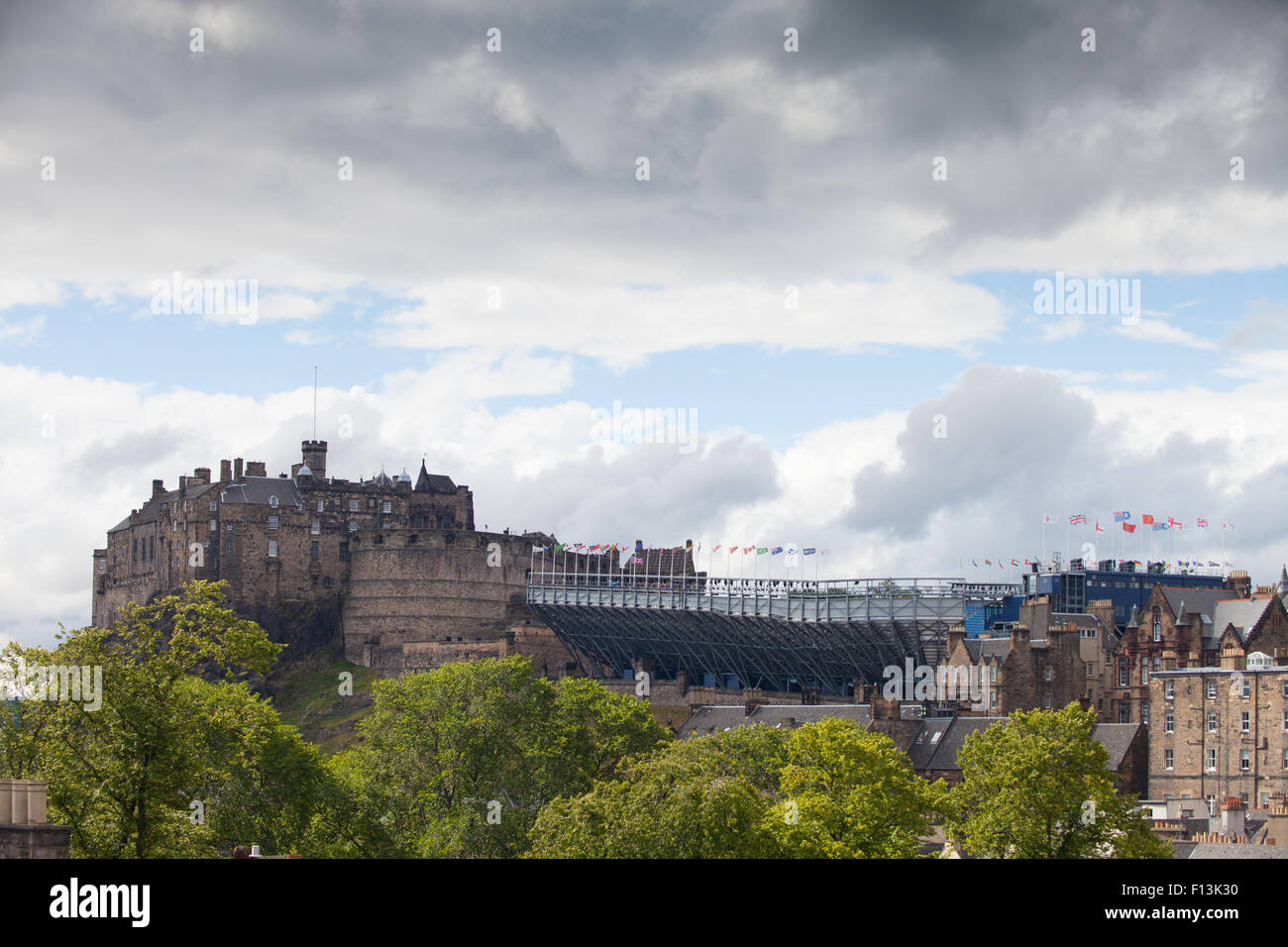 Edidinburgh Castle with seating for the military tattoo inplace. - Stock Image