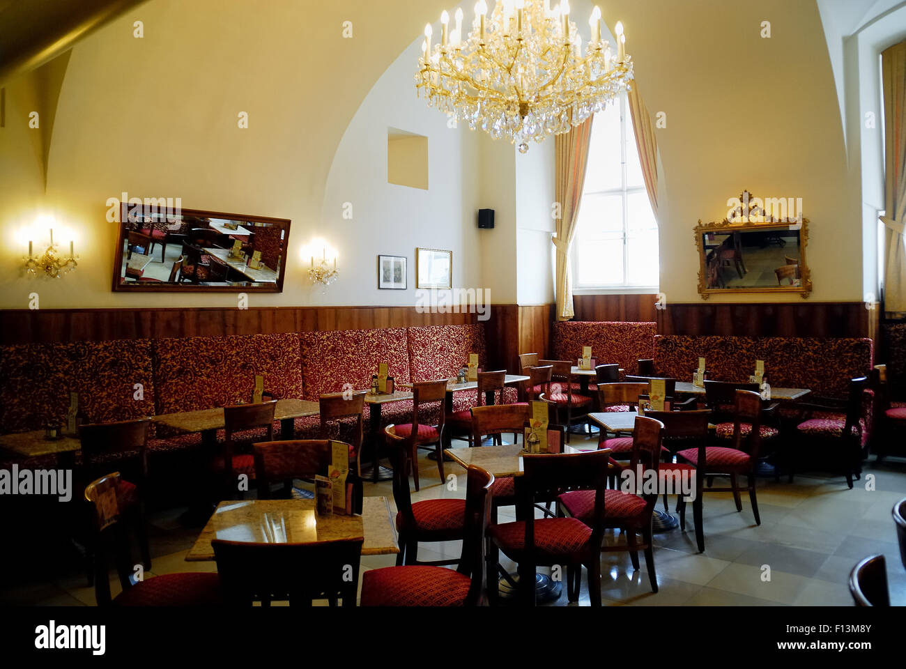 Vienna,the tourists coffee house inside the Hofburg Palace. The Hofburg Palace is the former imperial palace in - Stock Image