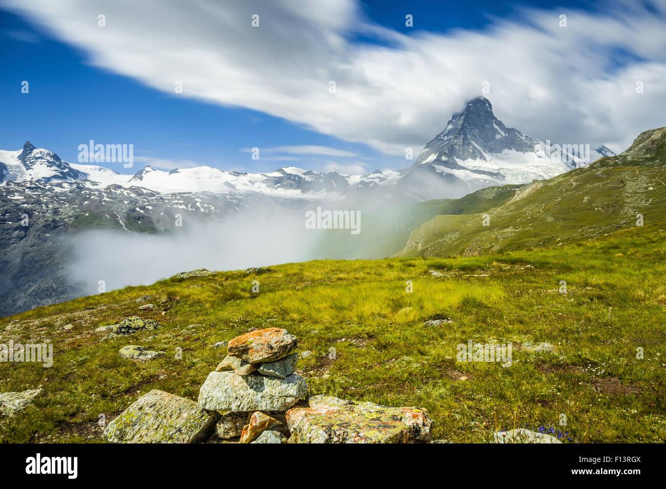 The Matterhorn (Cervino).  Alpine landscape. Switzerland - Stock Image