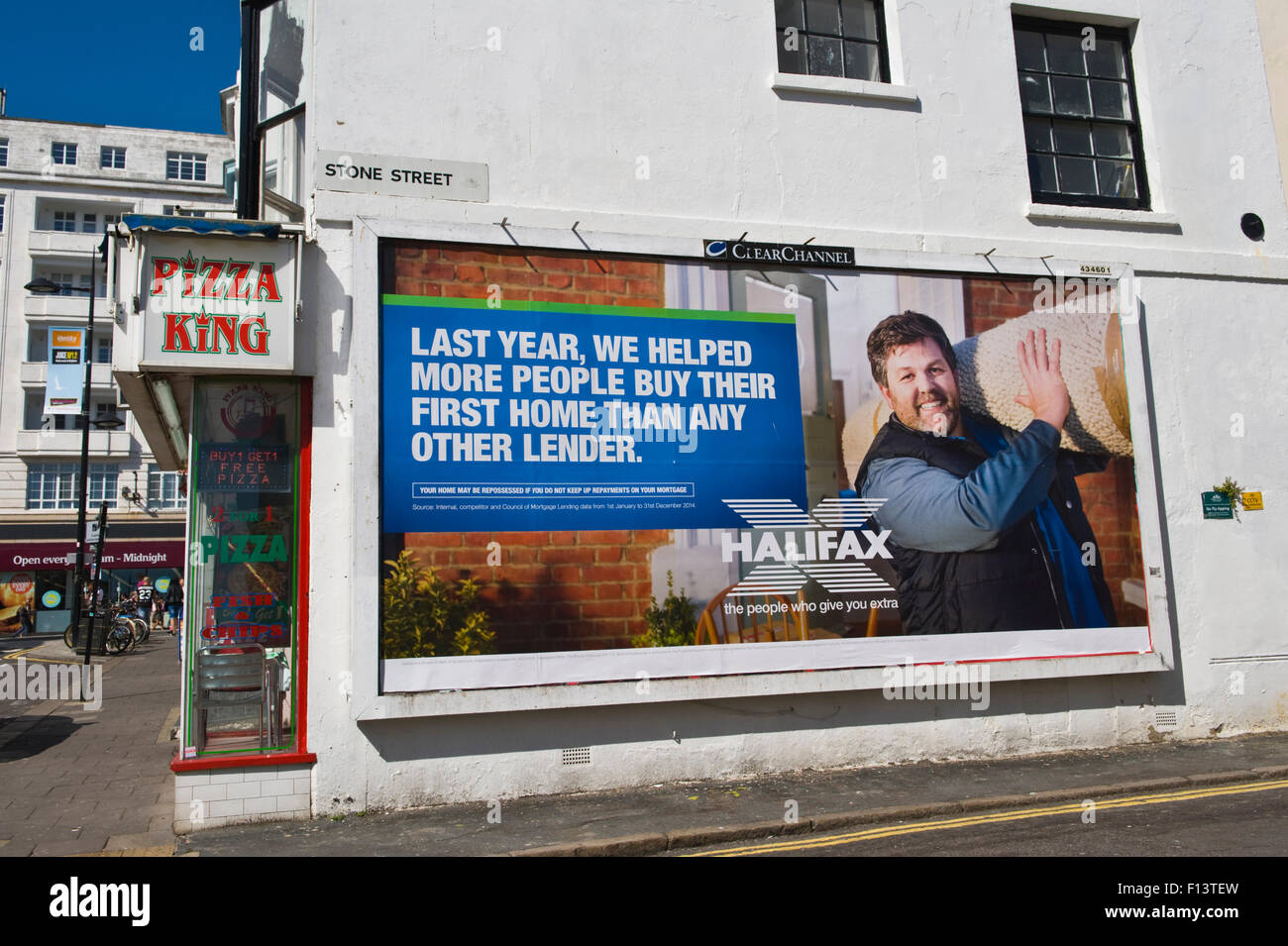 ClearChannel 48 sheet billboard poster advertising Halifax Building Society on street corner in Brighton East Sussex - Stock Image