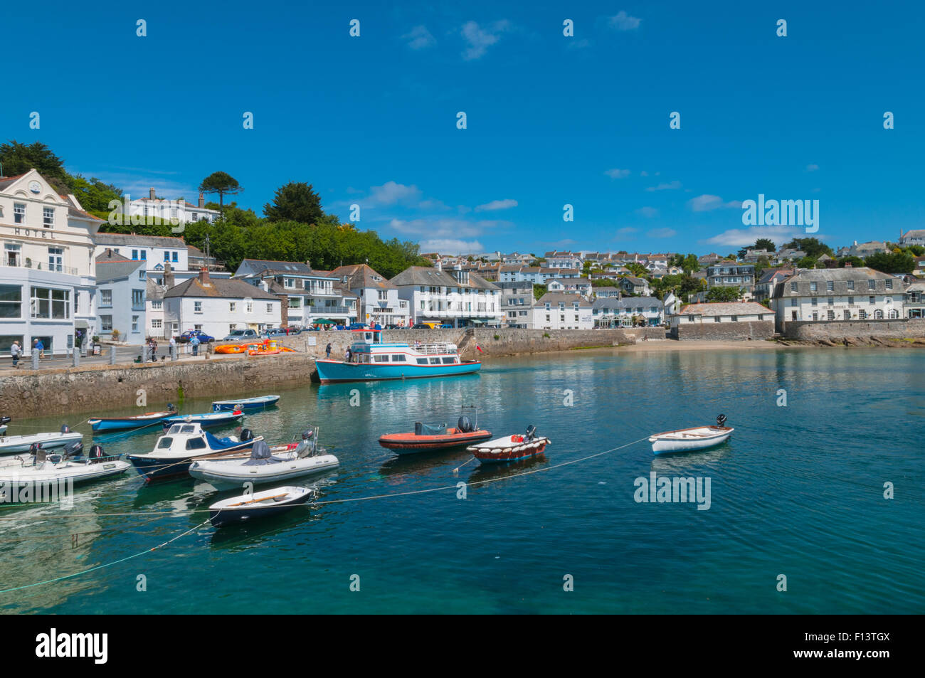 Boats in St Mawes Harbour St Mawes Cornwall England - Stock Image