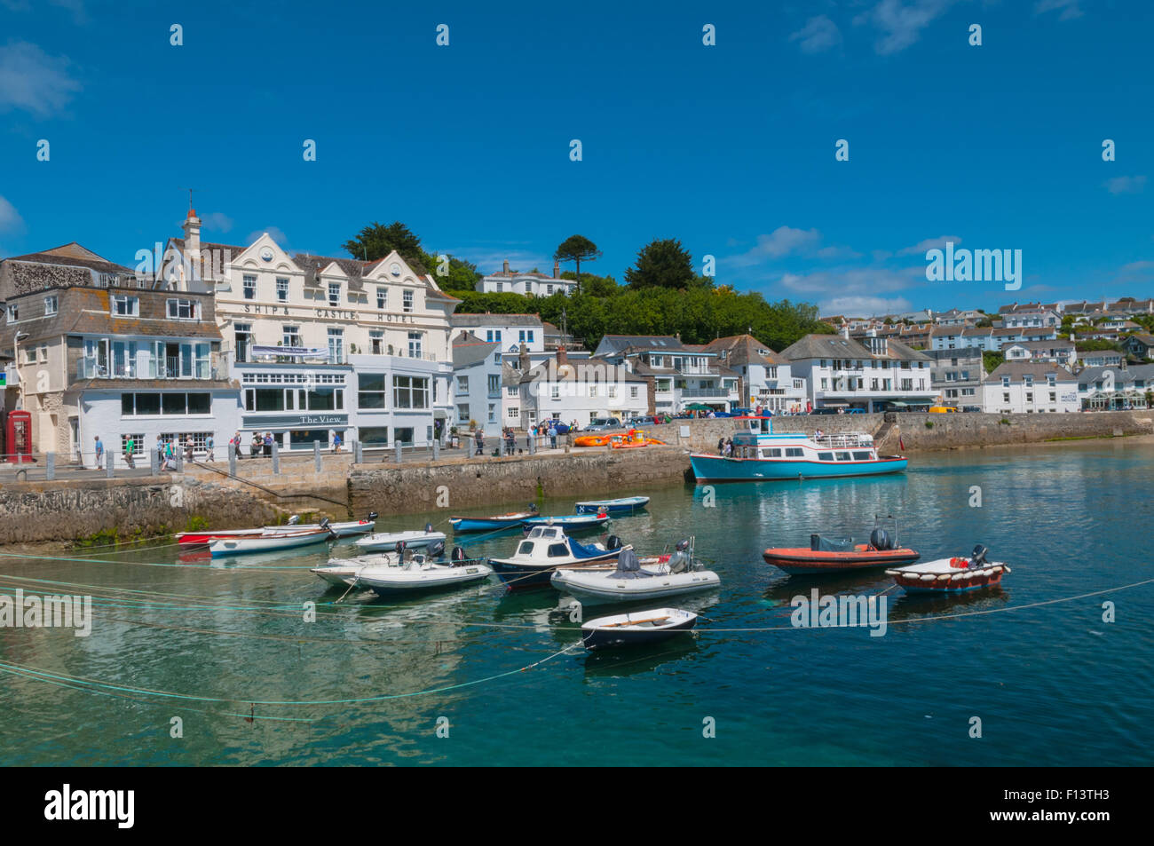Boats in St Mawes Harbour St Mawes Cornwall England 06/20111 - Stock Image