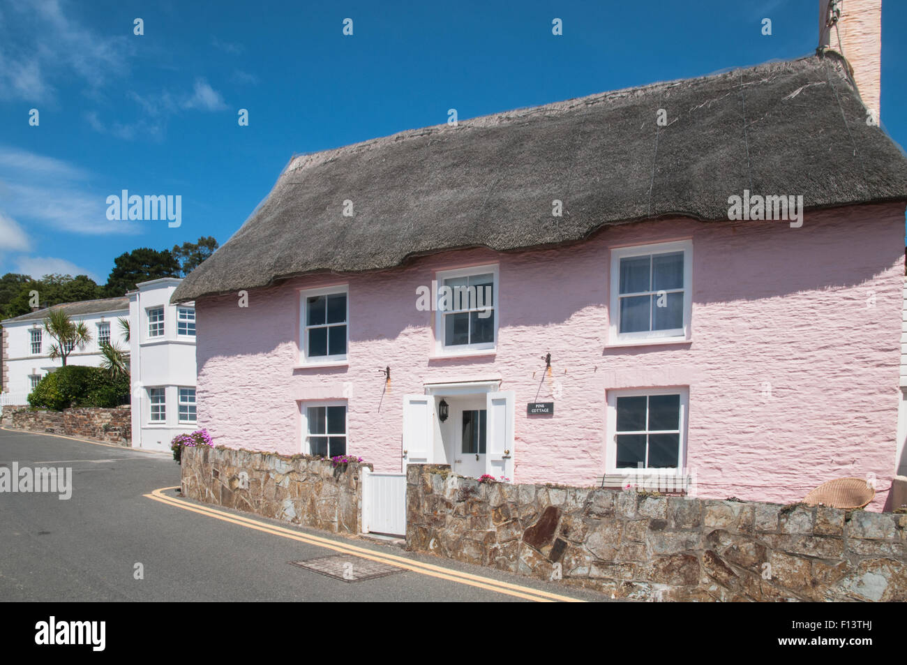 Thacthed Pink Cottage St Mawes Cornwall England - Stock Image