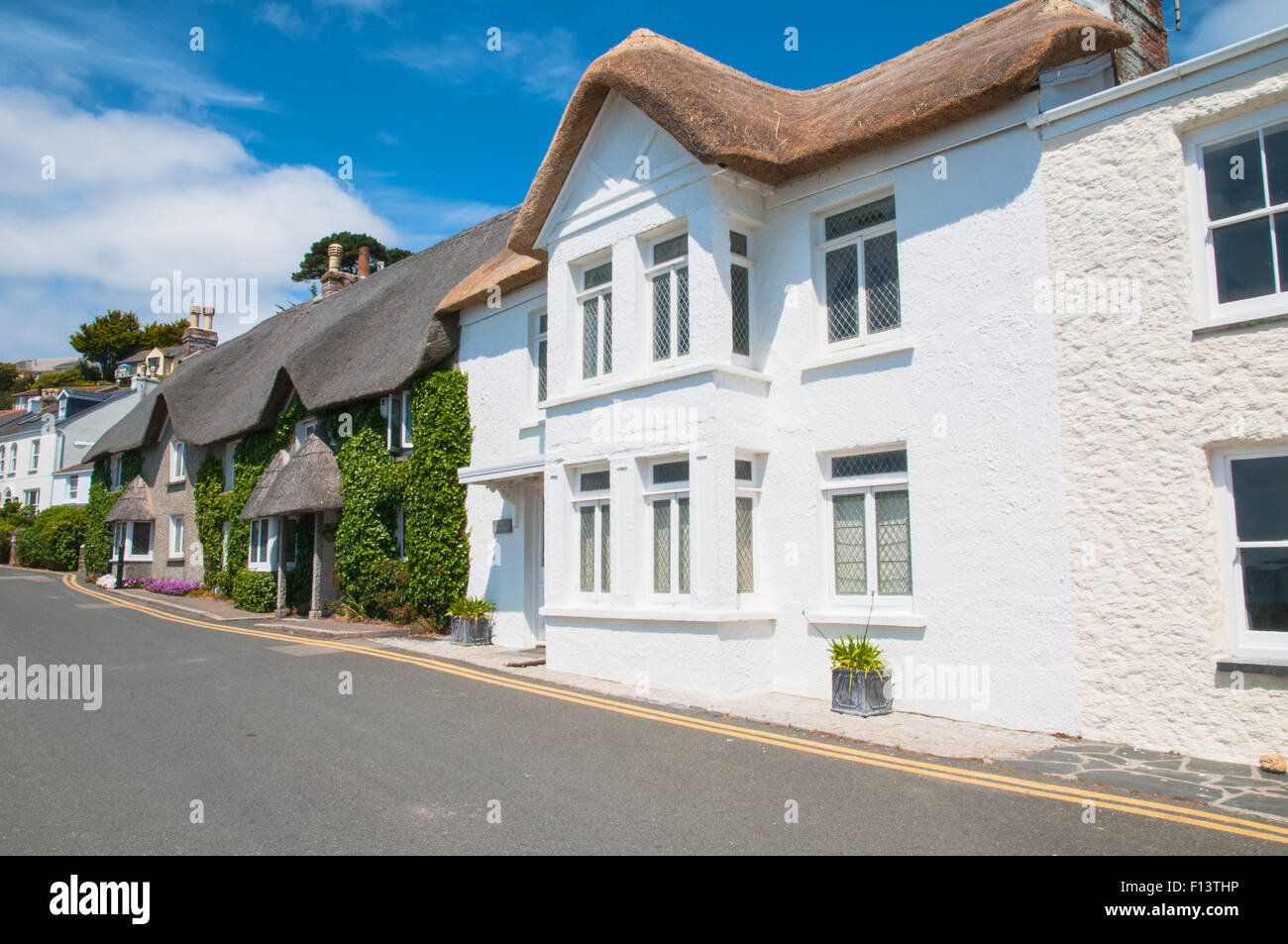 Thacthed Cottages St Mawes Cornwall England - Stock Image