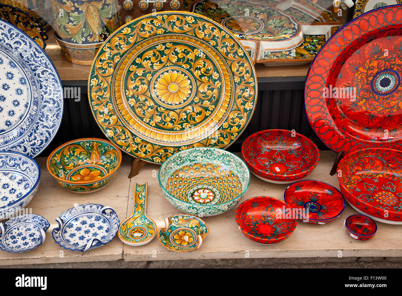 Close Up Of Traditional Decorative Ceramic Plates And Bowls Stock Photo Alamy