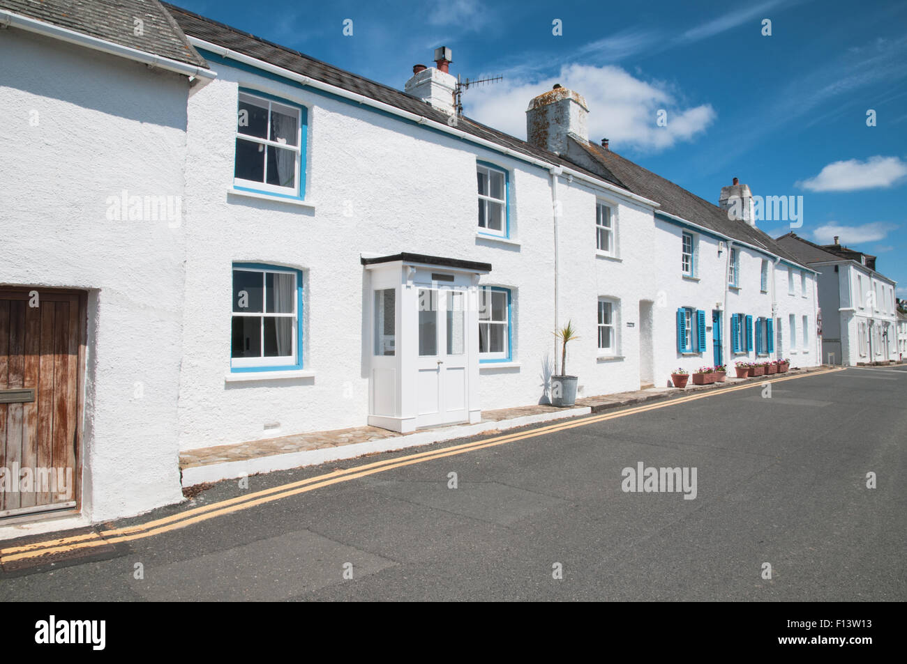 Old fishermens cottages St Mawes Cornwall England - Stock Image