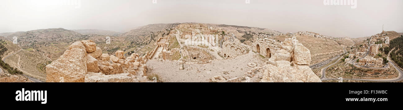 360° Panoramic view from highest point of Karak Castle overlooking the whole castle, town and nearby hills. Stock Photo