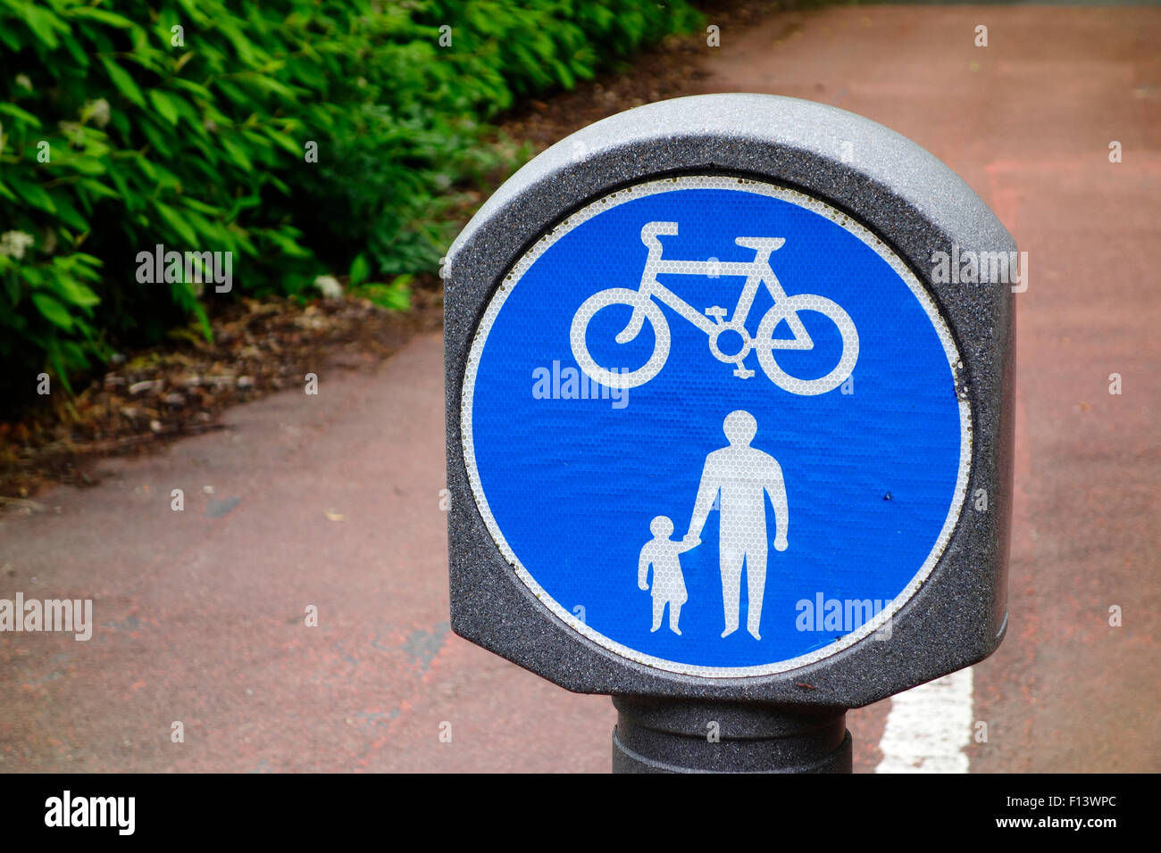 Sign for Divided Cycle Way and Pedestrian Footpath, Castle Douglas, Dumfries & Galloway, Scotland - Stock Image