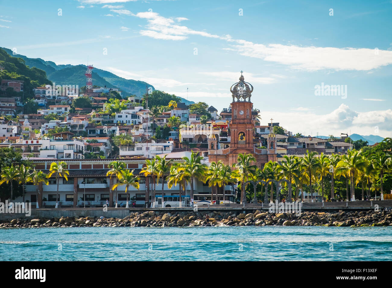 View at El Centro with church Our Lady of Guadalupe, Banderas Bay Coast Line, Puerto Vallarta, Mexico Stock Photo