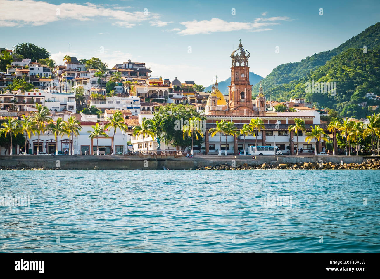 Colonia El Centro with church tower, Banderas Bay Coast Line, Puerto Vallarta, Mexico Stock Photo